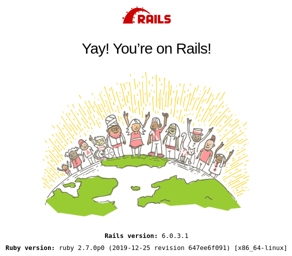 Rails default index page, showing Rails and Ruby versions